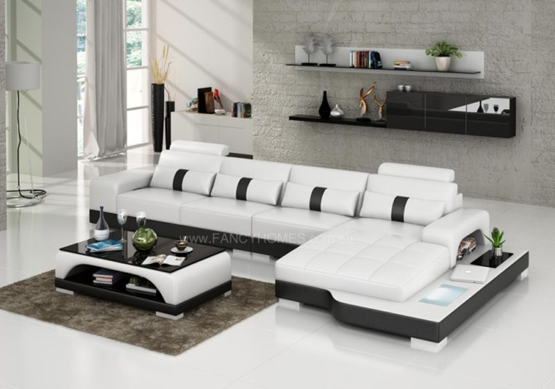 Fancy Homes Lori-C chaise leather sofa in white and black leather