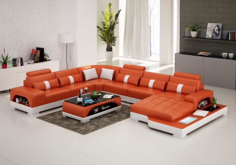 Fancy Homes Lori modular leather sofa in orange and white leather