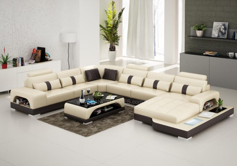 Fancy Homes Lori modular leather sofa in beige and brown leather