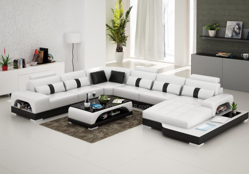 Fancy Homes Lori modular leather sofa in white and black leather