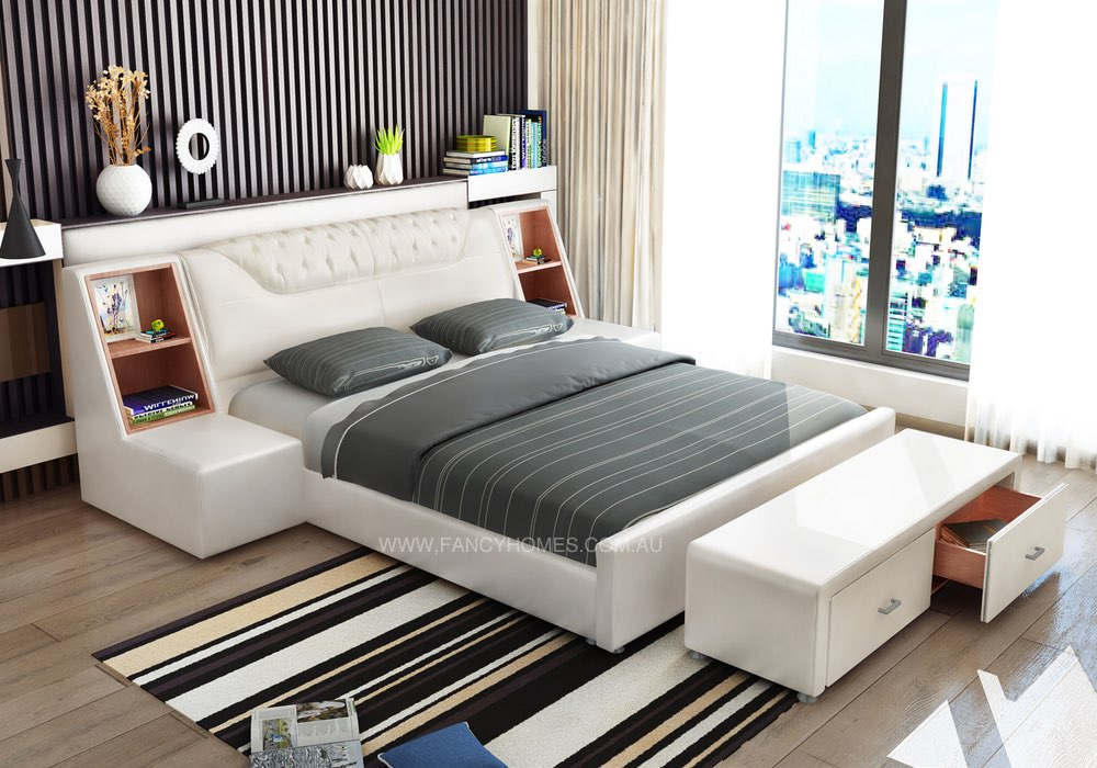 Leather Bed with storage