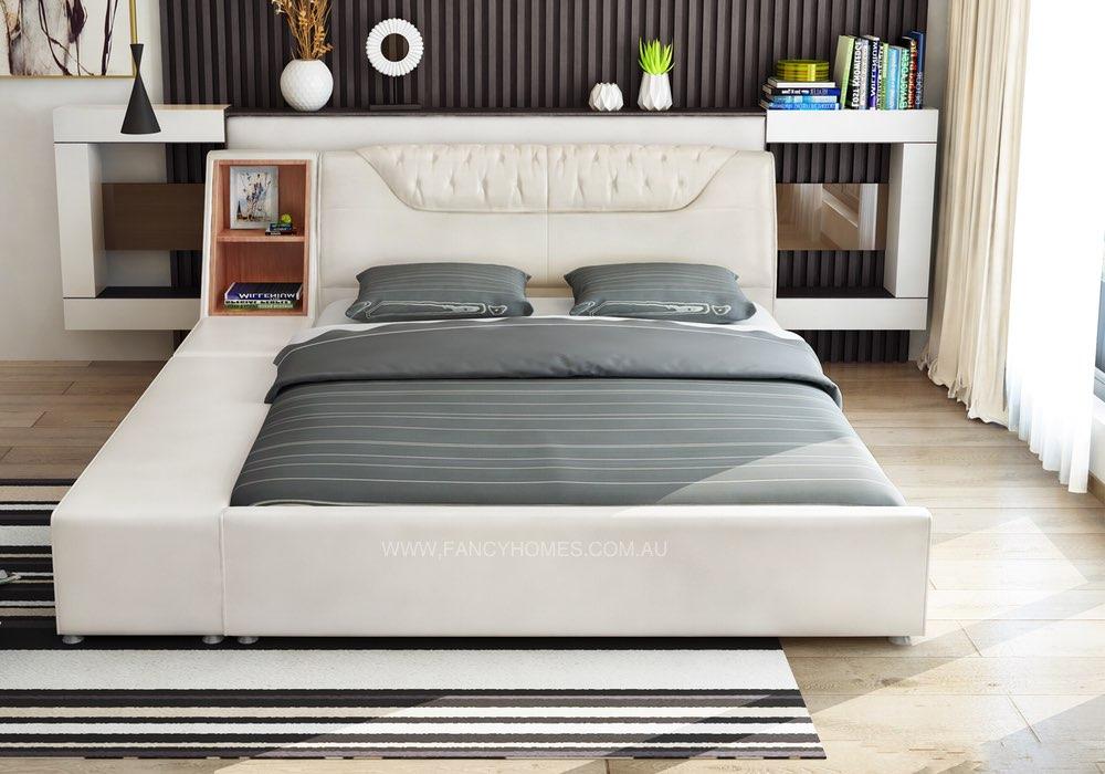 Morrison Designer Italian Leather Bed Frame With Bedside