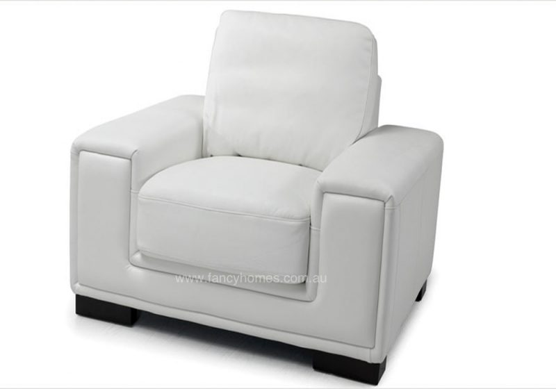 Fancy Homes Andiamo Chaise Leather Sofa single chair in white leather