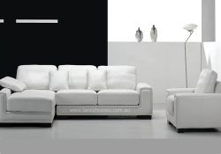 Fancy Homes Andiamo Chaise Leather Sofa in white leather with single armchair