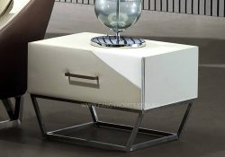 white bedside table with stainless steel
