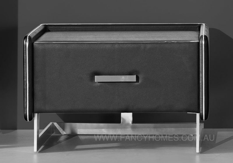 Black Pu leather bedside table