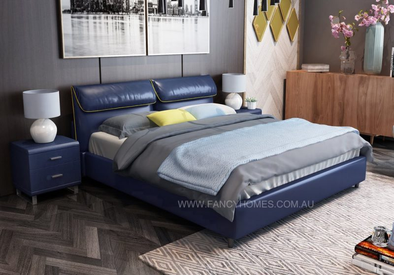 italian leather bed in navy