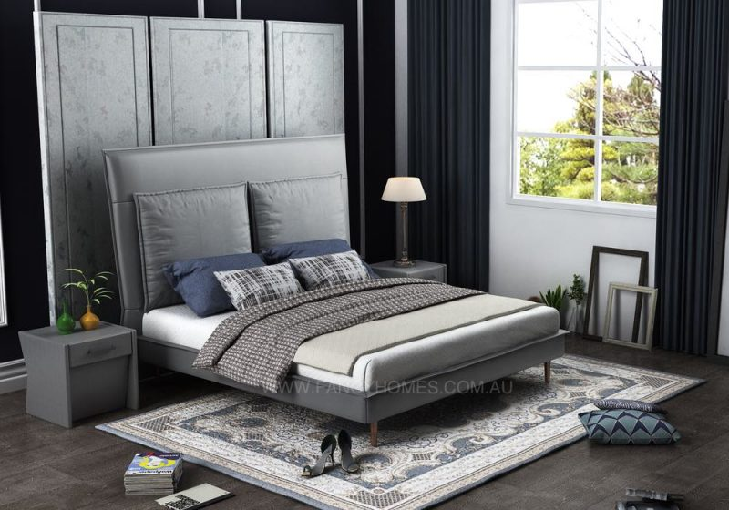 fabric bed in grey colour