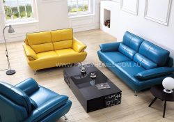 Fancy Homes Daisy lounges suites leather sofa in yellow and blue leather with leather piping