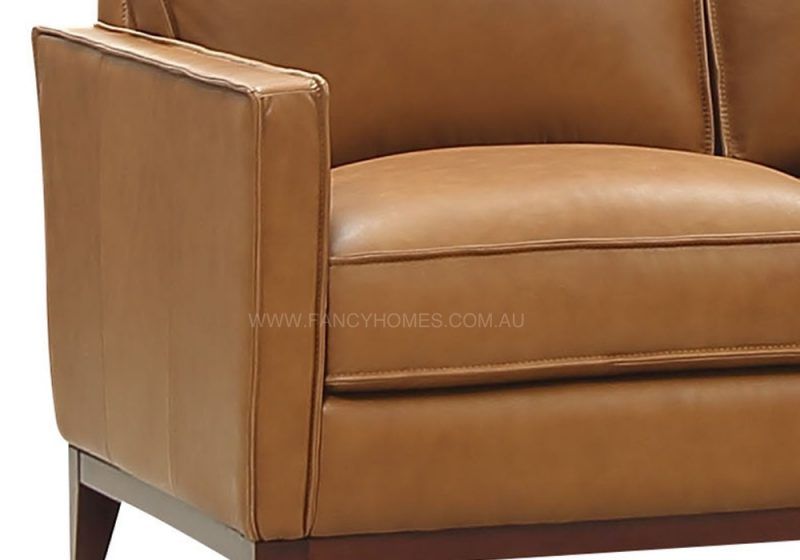 Fancy Homes Fargo lounges suites leather sofa in tan colour leather with round leather piping