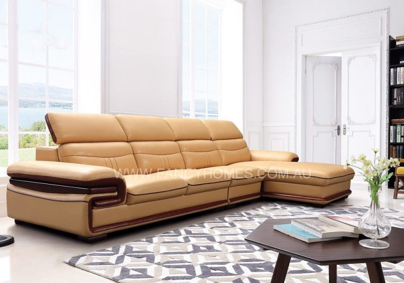 Fancy Homes Flick chaise leather sofa with adjustable headrests in beige and brown leather