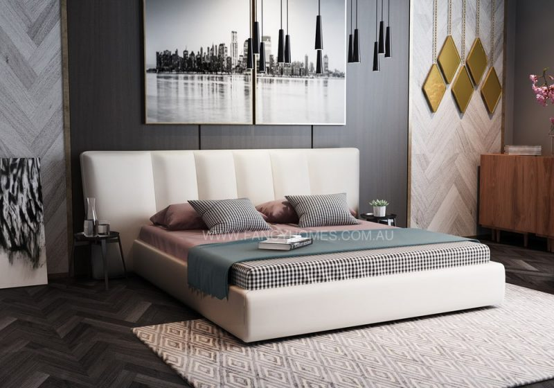Leather Bed in white