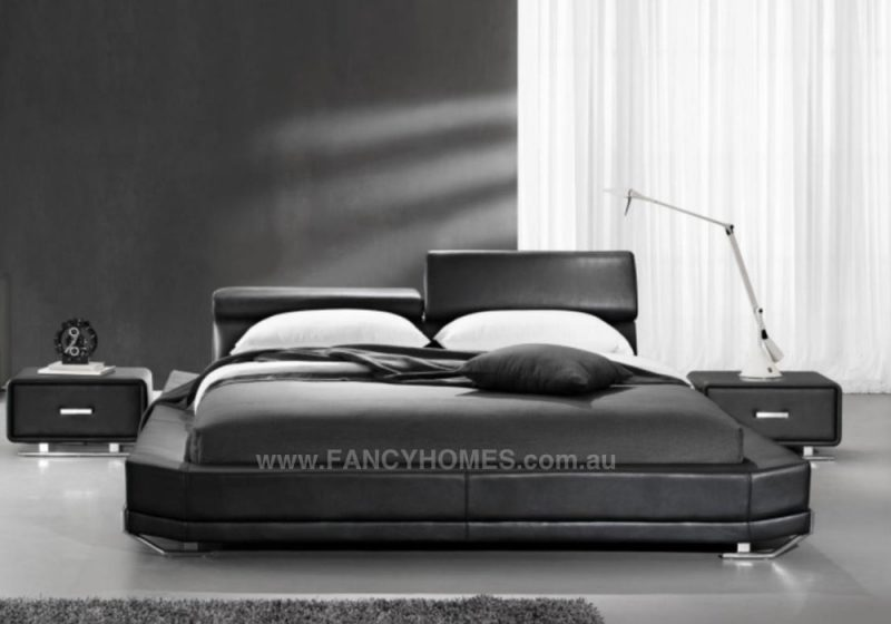 Jager leather bed frame in black