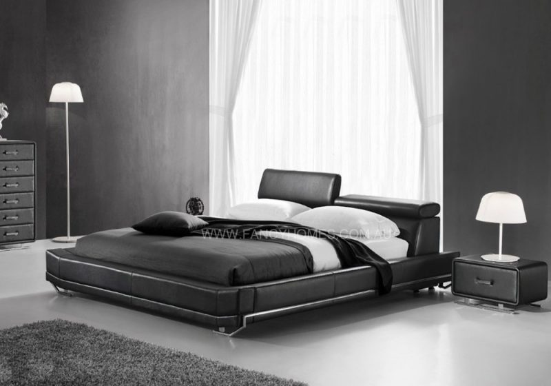 Adjustable headrest leather bed in black
