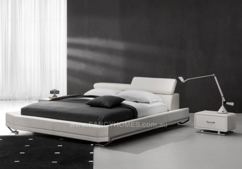 Jager leather bed frame in White