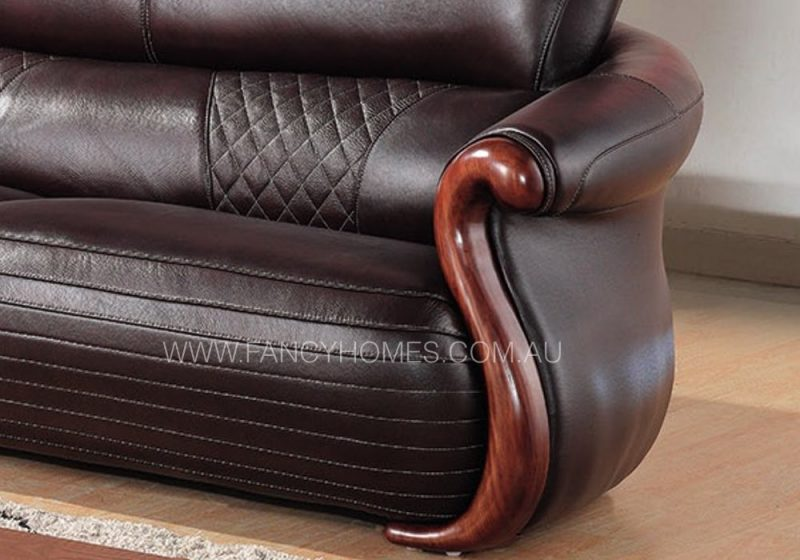 Fancy Homes Tavi chaise leather sofa in brown leather featuring walnut timber stripes on armrests