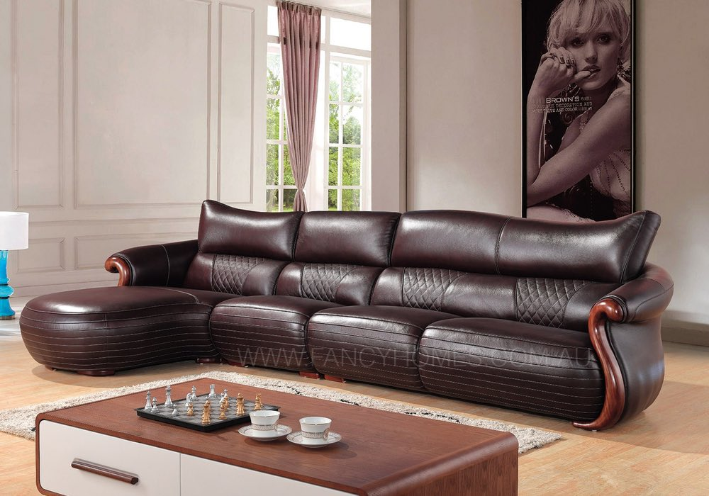 Leather chaise lounge with timber strip