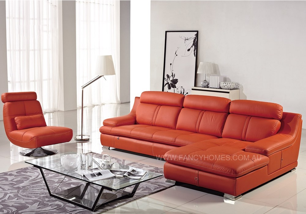 Leather chaise lounges in orange