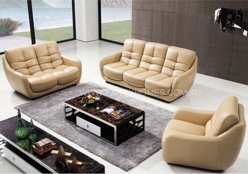Fancy Homes Valda lounges suites leather sofa in beige leather featuring higher back and unique stitching patterns
