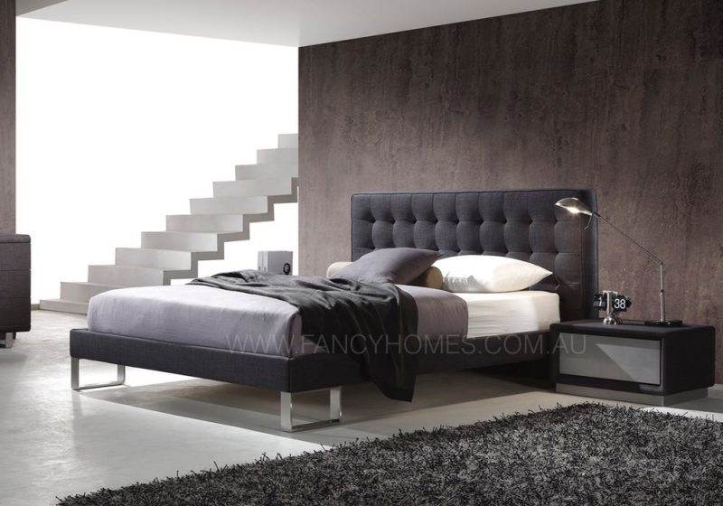 fabric bed in grey