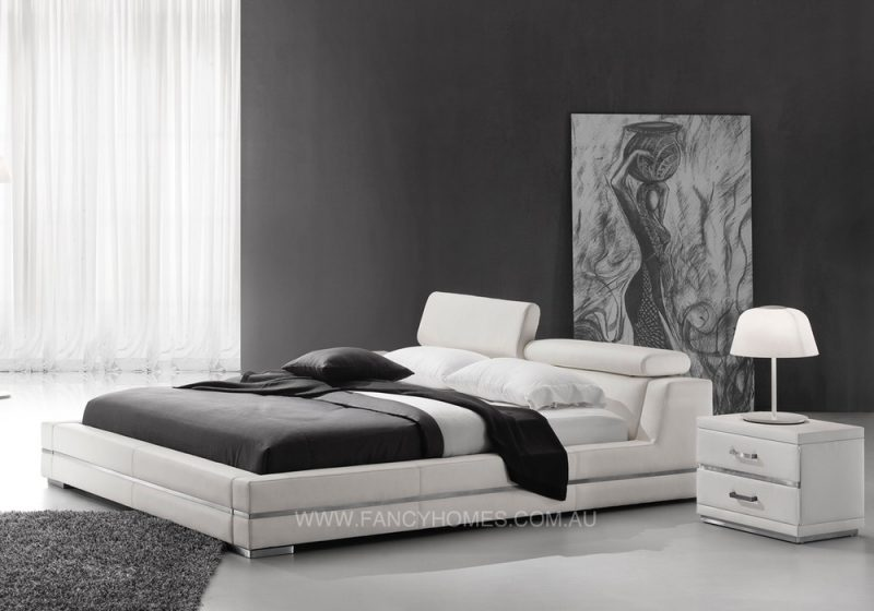 Adjustable bedhead leather bed