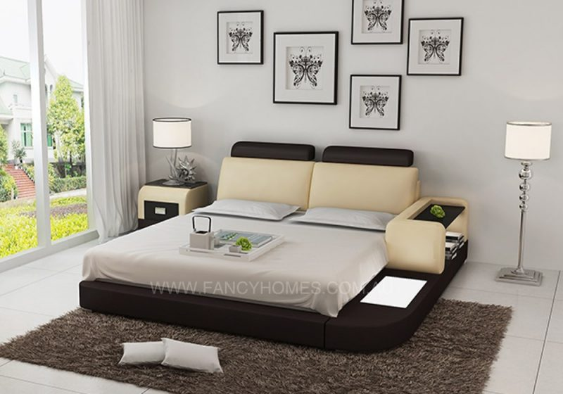 ANSLEY LEATHER BED-BEIGE+DARK BROWN