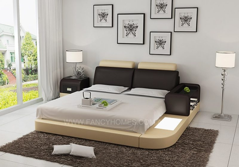 ANSLEY-LEATHER BED DARK BROWN+BEIGE