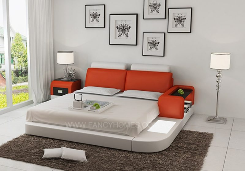 ANSLEY LEATHER BED ORANGE+WHITE