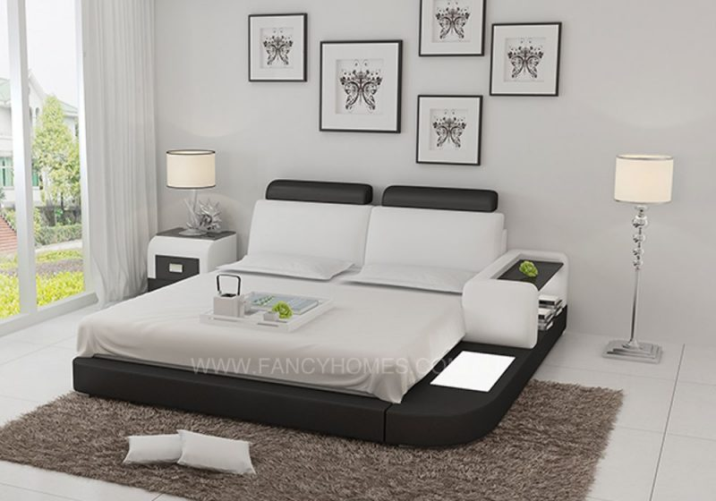 ANSLEY LEATHER BED WHITE+BLACK