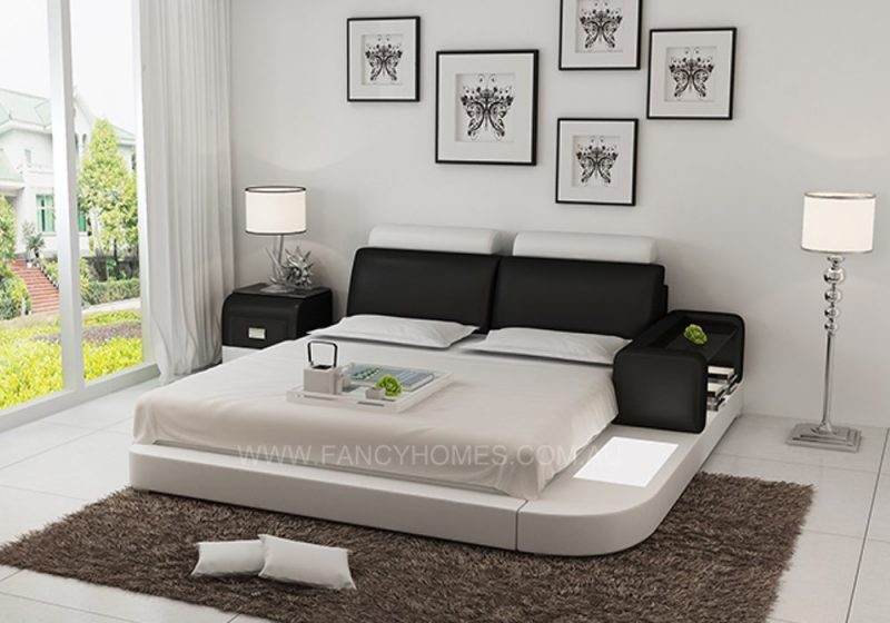 Ansley leather bed black+white