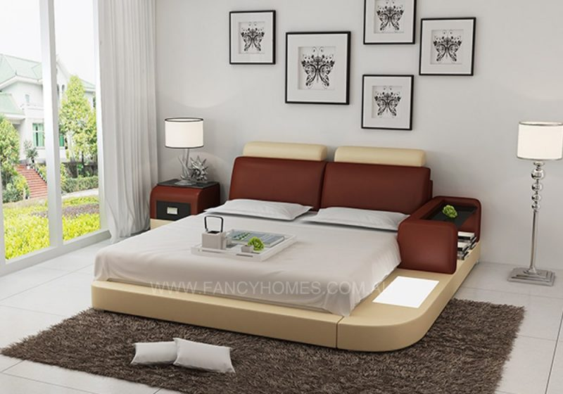 Ansley leather bed brown+beige