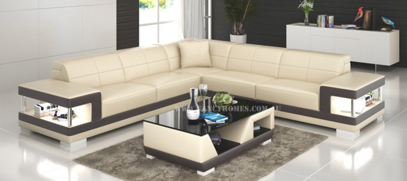 Fancy Homes Prima-B corner leather sofa in beige and brown leather featuring LED lighting systems and storage
