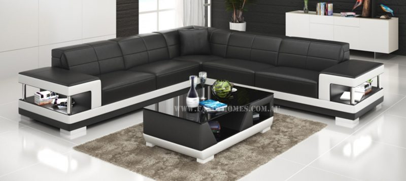 Fancy Homes Prima-B corner leather sofa in black and white leather