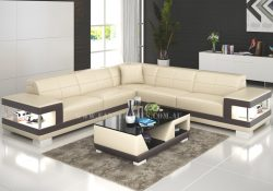 Fancy Homes Prima-B corner leather sofa in beige and brown leather