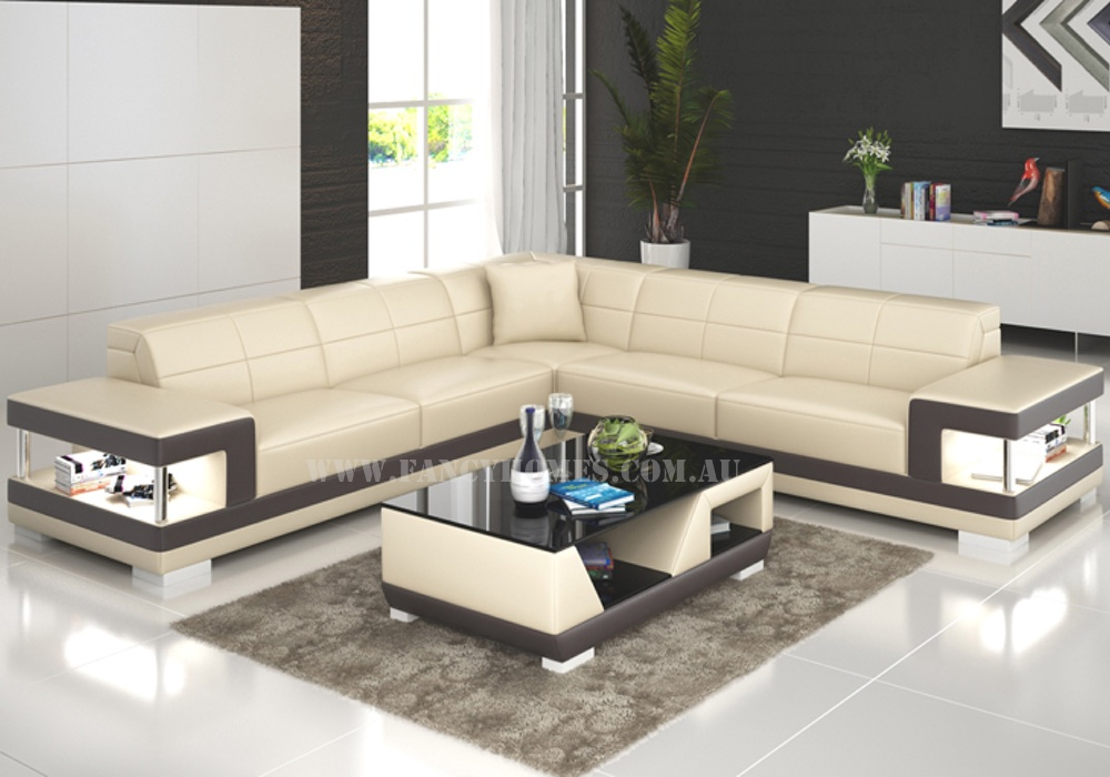 Prima leather corner group in beige