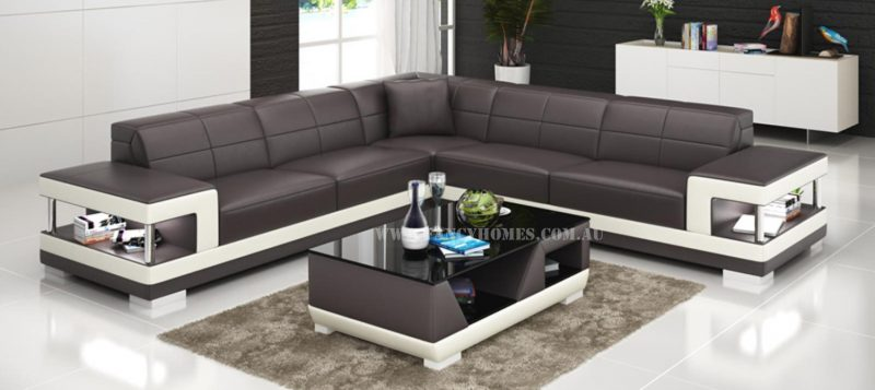 Fancy Homes Prima-B corner leather sofa in brown and white leather