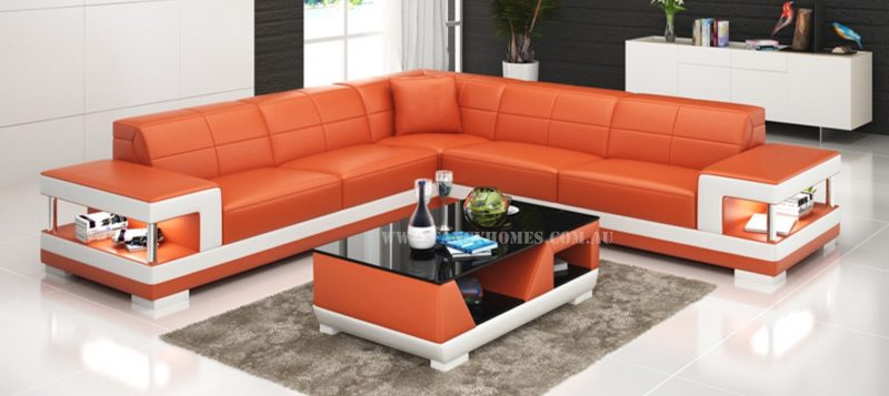 Fancy Homes Prima-B corner leather sofa in orange and white leather