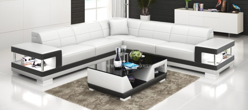 Fancy Homes Prima-B corner leather sofa in white and black