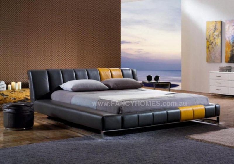 BRANDI LEATHER BED IN BLACK AND YELLOW