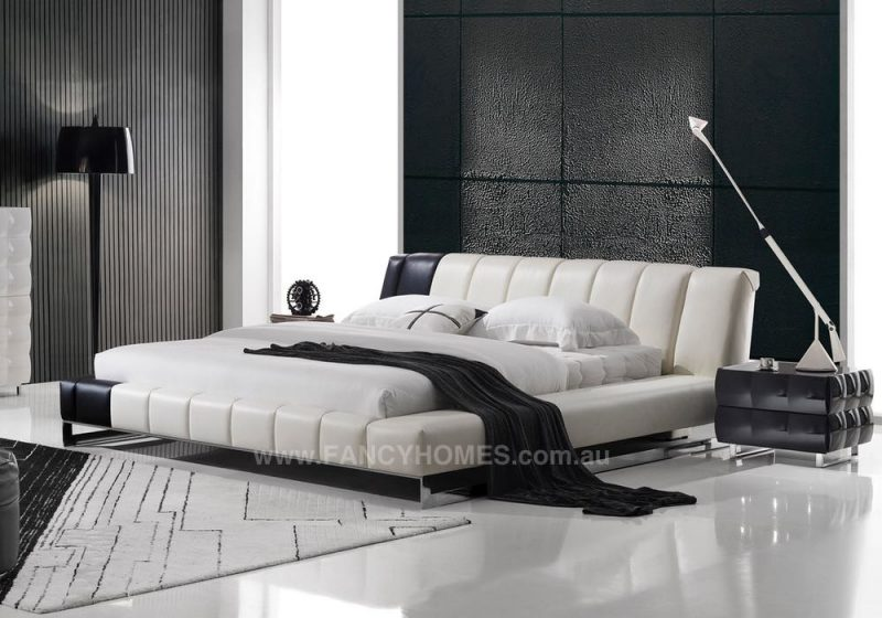 BRANDI Leather bed frame in two colours