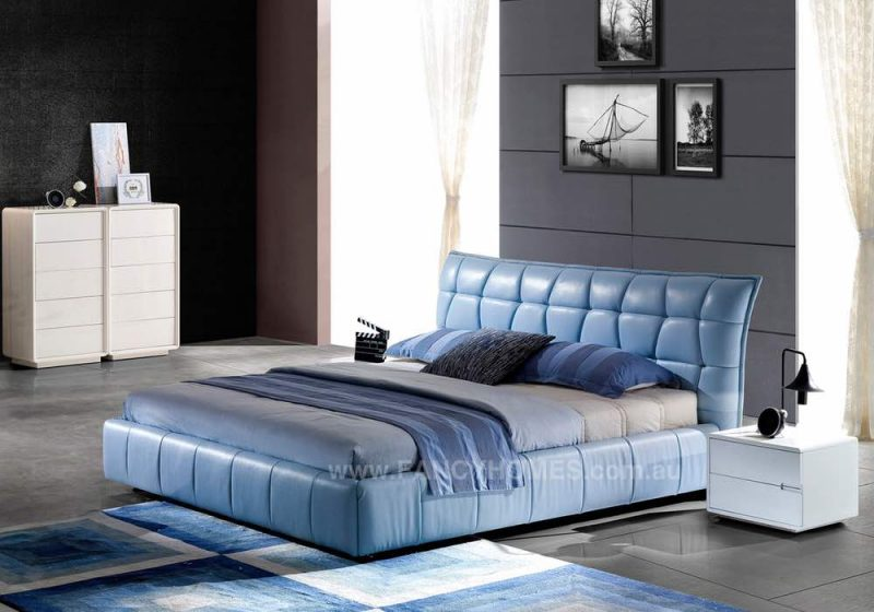 Luxury Leather Bed frame in Blue