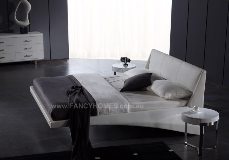 SALIMA Leather bed frame with stainless steel legs