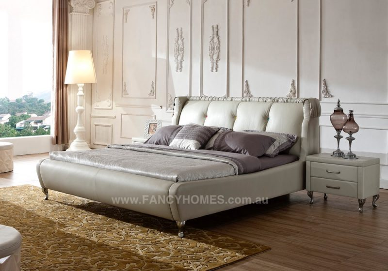 sasha leather bed frame in grey