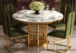 Fancy Homes QS8851 round marble top 4 seater dining set