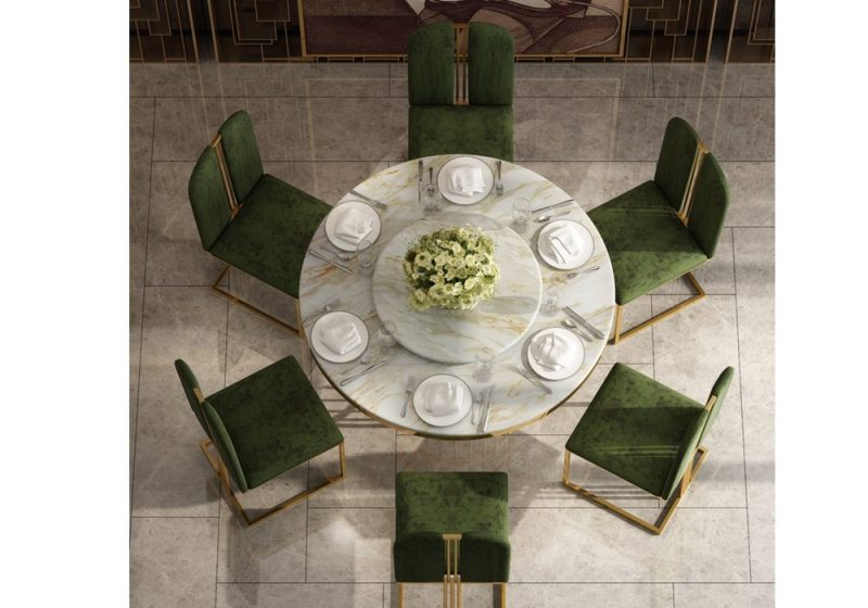 Fancy Homes QS8851 round marble top 6 seater dining set