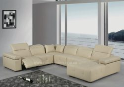 Fancy Homes Sabrina-U modular leather sofa featuring adjustable headrests and electrical recliners