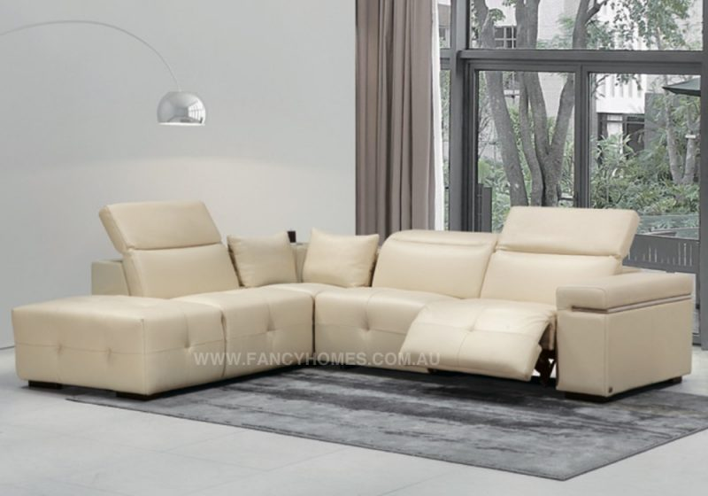 Fancy Homes Sabrina Recliner chaise leather sofa in beige leather featuring adjustable headrests and electrical recliners