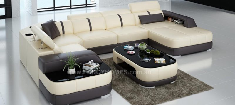 Fancy Homes Sofia modular leather sofa in beige and brown leather