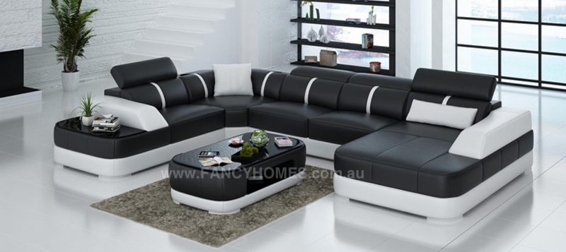 Fancy Homes Sofia modular leather sofa in black and white leather