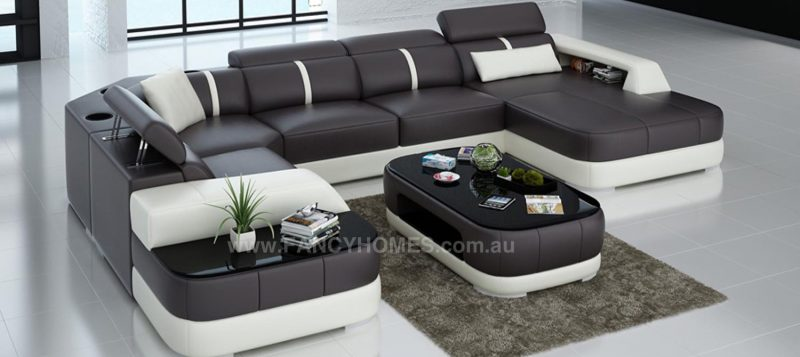 Fancy Homes Sofia modular leather sofa in brown and white leather